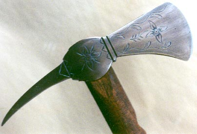 engraved spike hawk head